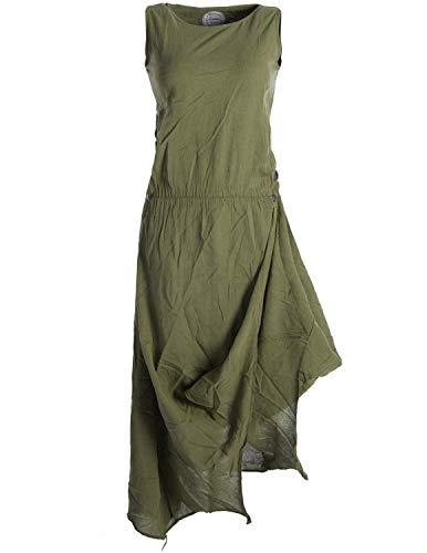 Vishes - Alternative Bekleidung - Ärmelloses Lagenlook Kleid aus Baumwolle zum Hochbinden Olive 40-42