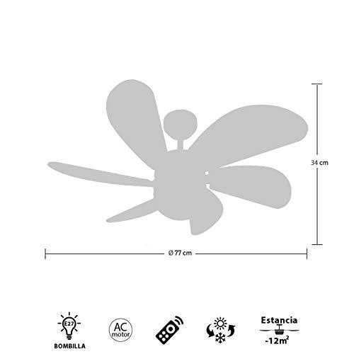 FABRILAMP Ventilador de techo con luz Led Serie Delfín Niquel ...