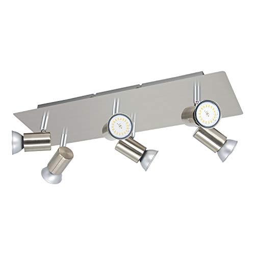 6 Flammig GU10 Rechteckige Deckenstrahler IP20 Schwenkbar LED Deckenleuchte Edelstahl Gebürstet Deckenlampe 230V Spots Ohne Glühbirne
