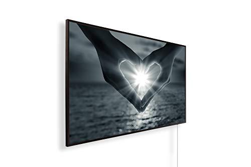 Könighaus Fern Infrarotheizung – Bildheizung in HD mit TÜV/GS - 200+ Bilder - Mit Thermostat - 7 Tages-Programm - 600 Watt -047. Herz Sonnenuntergang Meer Black Edition