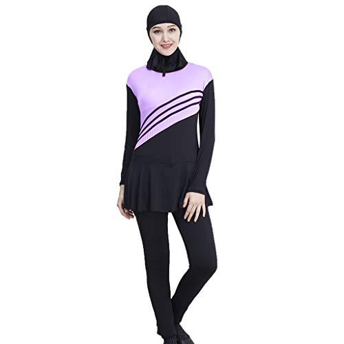 Lyguy Bikini Set, Damen Mädchen Plus Size Muslim Islamisch Modest Badeanzug Einteiliger Overall Farbblockstreifen Stehkragen Badeanzug Mit Hijab Lila 3XL