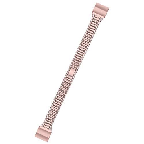 ULTECHNOVO Pulseira de Relógio de Aço Inoxidável Pulseira de Metal para Substituição de Smartwatch Pulseira Compatível para Fitbit Charge 2 (Rosa)