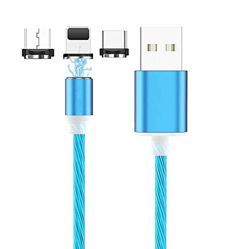 Ruibo Sike - Cable USB magnético 3 en 1, 2,4 A de alta velocidad USB a micro USB – Cable cargador de Android con iluminación LED que fluye azul