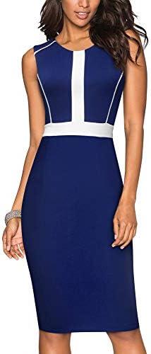 HOMEYEE Women s Round Neck Optical Illusion Business Bodycon Dress B530 12 Dark Blue White product image