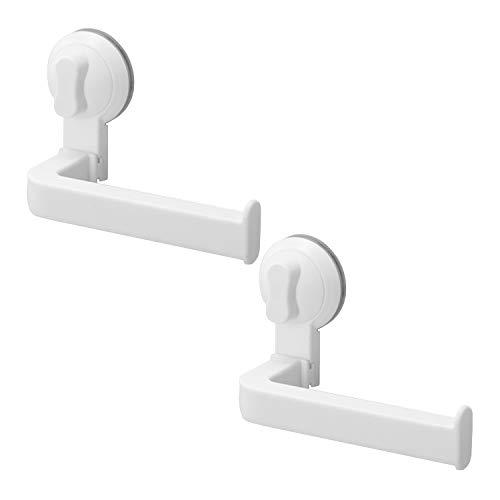 LIKERAINY Toilettenpapierhalter mit Saugnapf Toilettenpapierhalterung Ohne Bohren für Küche und Badzimmer WC Rollenhalter Cremeweiß 2 Stück