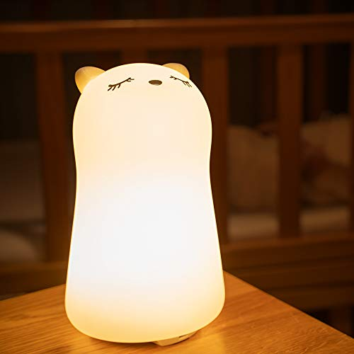 Night Light for Kid,Cute Baby Toddler Girls Led Nursery Silicone Squishy Color Changing Animal...