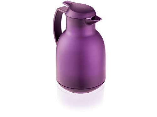 Leifheit Bolero 1, 0 L Isolierkanne, 100% dicht, Thermoskanne mit doppelwandigem Vakuum-Glaskolben, praktisches Öffnen und Schließen mit einer Hand, Kaffekanne, Teekanne, lila, gefrostet