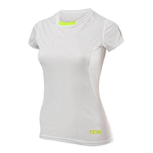 TCA Atomic Quickdry Damen Laufshirt/Funktionsshirt - Kurzarm - Weiß, S