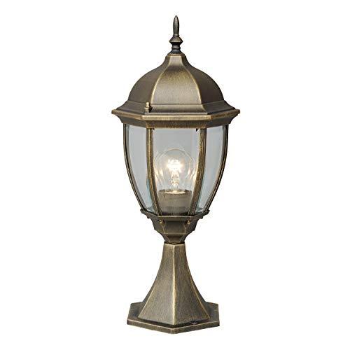MW-Light 804040301 Borne d'Extérieur Design Classique en Métal couleur Or Patiné Abat-jour en Verre Transparent pour Jardin Allées IP44 1x95W E27