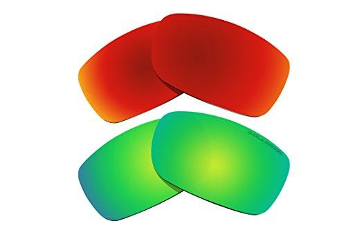 2 pares de lentes polarizadas de repuesto rojo y verde para Oakley Fives Squared (2008) gafas de sol