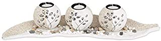 Relaxdays 10022858 Portavelas Decoración Con Cuenco Decorativo y Velas Pequeñas 9 x 505 x 165 cm Beige-Blanco