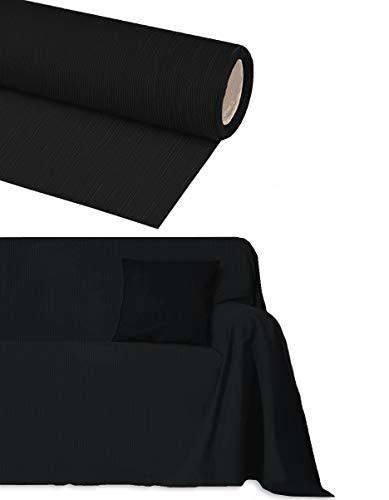Byour3 Funda para sofá algodón de 2, 3, 4 y 5 plazas artesanales. Tela granfoulard Gran sobre telas Decoración multiusos, moderna, funda para sofá esquinero con chaise longue (negro 4 plazas)