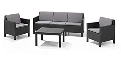 Allibert by Keter Chicago 5 Seater Rattan Lounge Set Outdoor Garden Furniture - Graphite with Grey Cushion by Keter