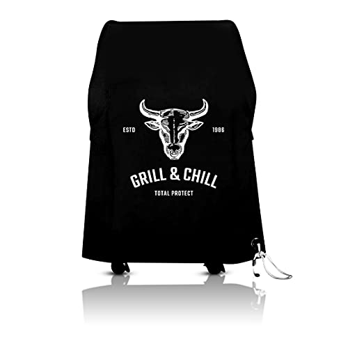 Grill & Chill -Premium- Abdeckhaube, BBQ Grillabdeckung Wasserdicht Abdeckplane Haube Schutzhülle für Weber, Brinkmann, Char Broil, Holland und Jenn Air Gasgrill 600D Oxford-Gewebe (80x67x115cm)