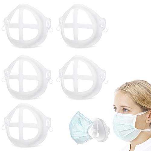 5PCS 3D Mask Bracket Internal Support Frame, Cool Masks for Mouth and Nose Protection Lipstick Reusable Face Mask Holder Clip +10 Safety Pins