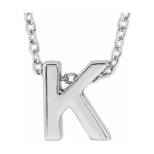 Collar con colgante de letra de oro blanco de 14 quilates con letra personalizada, monograma inicial K 8 x 6,9 mm, 16 pulidos, con inicial, para regalo, joyería para mujer – 46 centímetros