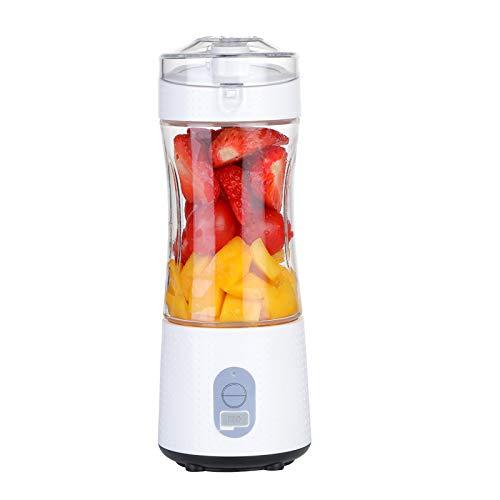 asx Exprimidor de máquinas de licuadora portátil para batidos y batidos de color naranja eléctrico USB para batidora de frutas personal y extractor de jugo (color: blanco, voltaje (V) : 6 cuchillas)
