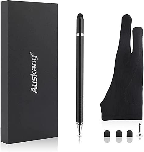 Auskang Stylus Penna, Penna del cellulare, Penna a sfera [3 in 1] con guanti da disegno, utilizzati per la scrittura elettronica e la pittura, scrivere su carta e schizzo, per Tablet cellulari