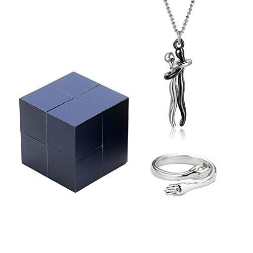 KUANDARM 2021 Nuevo Anillo de Plata Creativo y Caja de Joyas de Rubik, Caja de Anillo de Rompecabezas mágico con Anillo de Abrazo de Plata de Ley Anillo Ajustable de Pareja Anillo/Collar (setB)