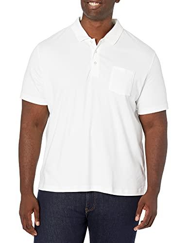 Amazon Essentials Herren-Poloshirt, schmale Passform, mit Brusttasche, aus Jersey, White, US S (EU S)