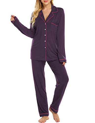 Ekouaer Sleepwear Set Women's Lightweight Pajamas Long Sleeve Loungewear (Fuchsia,M)