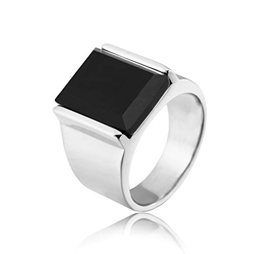 Aienid Steel Ring Gold Black Rectangle Shape Ring for Men Silver / Black
