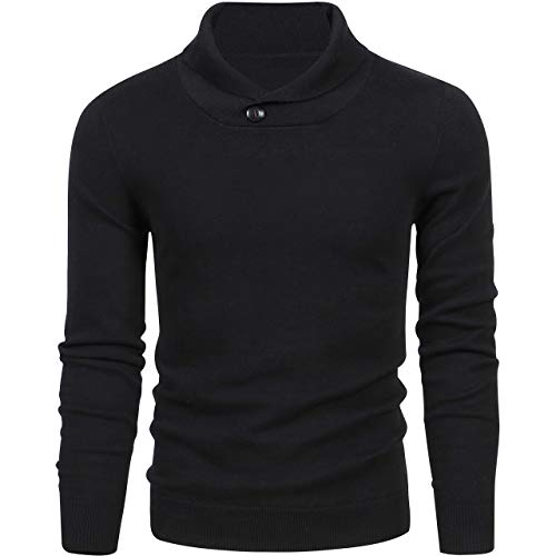 LTIFONE Mens Shawl Sweaters,Casual Slim Fit,Knitted Collar Long Sleeve,Outwear Soft Cotton with One Button(Black,XXL)