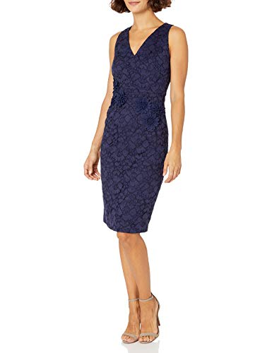 Maggy London Women's Petite Rose Garden Lace Sheath with Embellished Detail, Navy, 8P