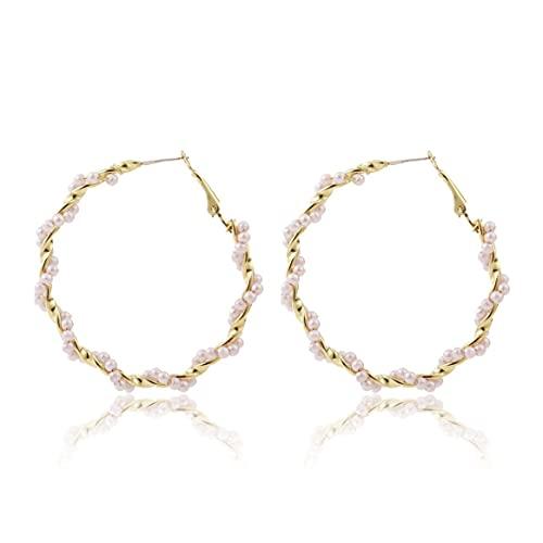Yixikejiyouxian Pendientes, Pendientes De Perlas Trenzadas Pendientes Redondos De Cadena Pendientes De Moda De Boda para Mujer Joyas para Mujer Niña Dama - Oro + Rosa 5.5Cm