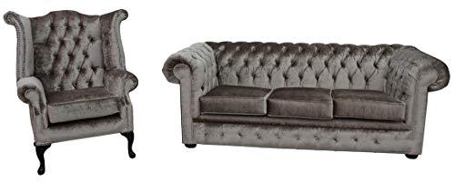 JVmoebel Chesterfield 449 - Sofá acolchado de piel de oveja clásica de 3 plazas y sillón con orejeras
