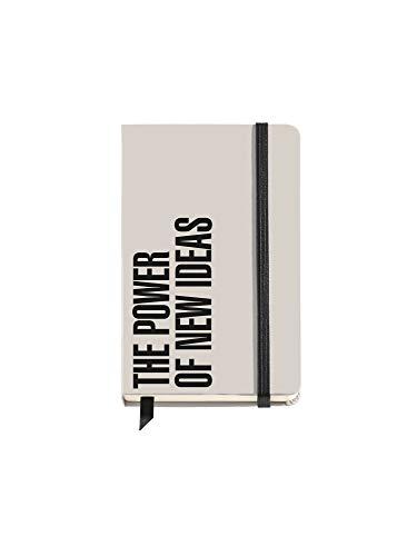 Miquelrius - Cuaderno Tapa Dura, Tamaño 90 x 140 mm, 100 Hojas Blancas, Cierre con Goma, color Mensajes Gris, Diseño New Ideas