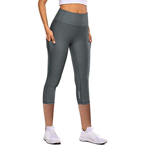 Running Fitness Estiramiento PantalóN,Pantalones de Yoga de Secado rápido para Mujeres, Pantalones de chándal elásticos Ajustados de Siete Puntos-Gray_S