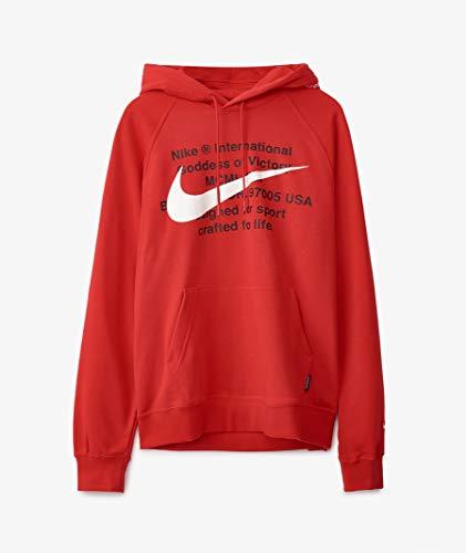 Nike M NSW Swoosh Felpa con Cappuccio Po Ft, Uomo, CJ4863, Rosso/Bianco (University Red/White), S