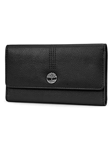 Timberland Leather RFID Flap Wallet Clutch Organizer, Black (Pebble)