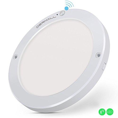 Dermall - Lámpara de techo o pared con sensor de movimiento, 18W, para interiores, alcance de 3-8m, 1300lm