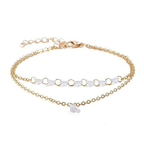 Bracelet Modeschmuck Gold Farbe Charm Armbänder & Armreifen Klare Weiße Glasarmbänder Für Frauen Multilayer Link Chain Braclet