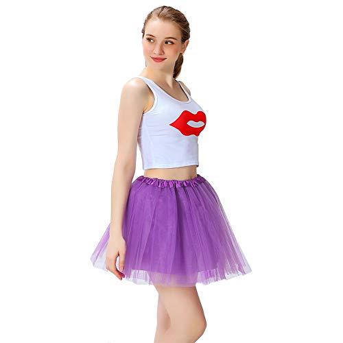 LOOHAOC Tutu Falda de Mujer Falda de Tul 50's Short Ballet 4 Capas Accesorios Falda Tul Princesa de Vestimenta de Baile Nias para Vestirse Disfraces Danza