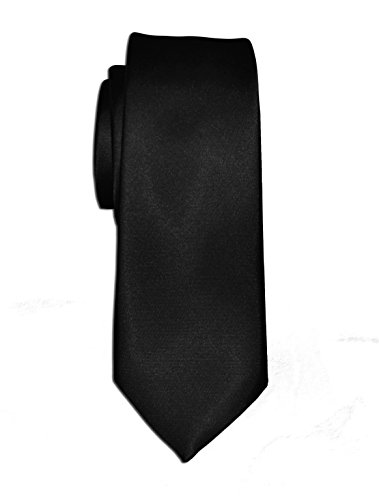 takestop/® Cravatta Seta Raso Nero Black Sun/_4000 CRAVATTINO Frack Papillon Sottile Uomo Donna Slim