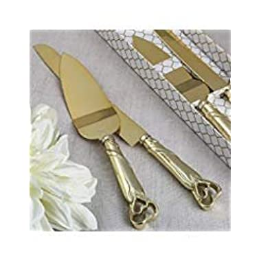 Gold Double Heart Wedding Cake Serving Set