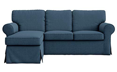 SC Ektorp Loveseat (2-Sitzer) mit Chaiselongue-Bezug, Cutomoized für IKEA Ektorp Sectional 3-Sitzer-Sofa-Schonbezug (Polyester-Marineblau)