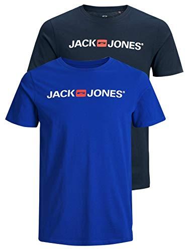 JACK & JONES 12183668 - Maglietta da uomo con logo JJECORP, 2 pezzi Confezione da 2 colori (Navy Blazer/Surf The Web). L