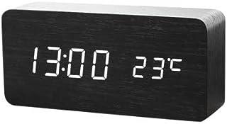Yaosh Drewniany zegar budzik LED wielofunkcyjny budzik nocny cyfrowy budzik LED Smart budzik do sypialni, elektroniczny bu...
