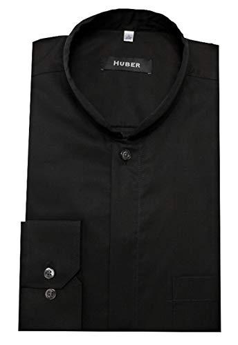 HUBER Stehkragenhemd Asia schwarz XL