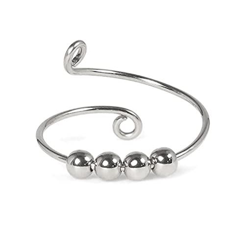 Fidget Spinner Zappelring Ringe, Fingerring öffnen Single Coil Spiral Perlen Drehen frei verstellbaren Strickring für Damen Schmuck Geschenke (Silver)