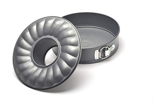 """PRESS Fluted Springform Cake Pan 10"""" x 3 1/3"""" 3pcs, Ideal for Baking, Non-Stick Carbon Steel with Removable Bottom and Quick Release. Bakeware Line"""