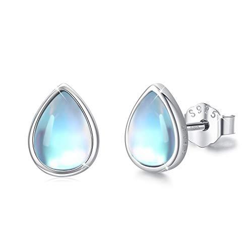 Pendientes de gota de agua, piedra lunar natural, piedra de nacimiento puro, ojos azules, lágrima, arco iris, piedra lunar, pendientes hipoalergénicos de plata de ley 925 para orejas sensibles.