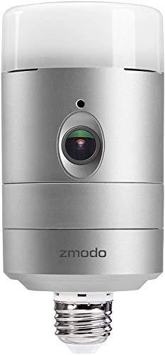 Zmodo Torch 360 Smart Home Garden Door Light Wireless Camera, Outdoor Wide Angle, Motion Alert, Silver