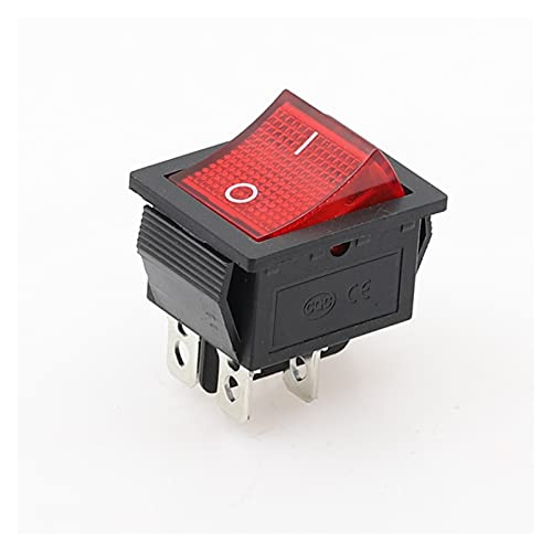 QHMDZ Interruptor basculante KCD4 ON-Off 16A 250VAC / 20A 125VAC Botón Rojo Interruptor de Rocker de luz 4 Pin Rocker Power Interruptor (Color : Red)