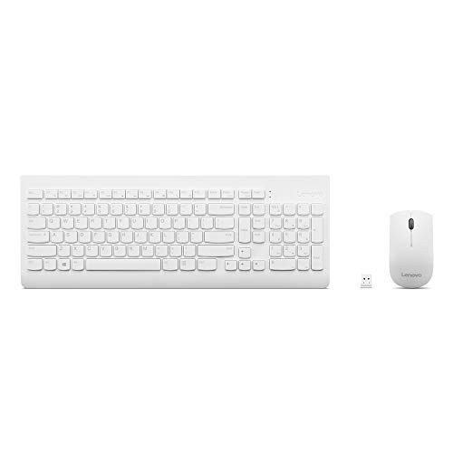 Lenovo 510 Wireless Combo with 2.4 GHz USB Receiver, Slim Full Size Keyboard, Full Number Pad, 1200 DPI Optical Mouse, Left or Right Hand, GX30W75336, White
