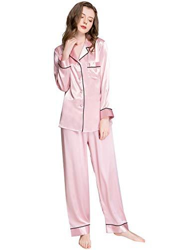 LONXU Damen Satin Pyjama Set Pink Medium